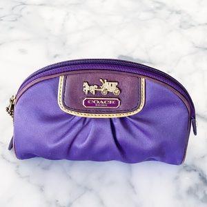 Coach Purple Polysatin Pouch, Cosmetic Case